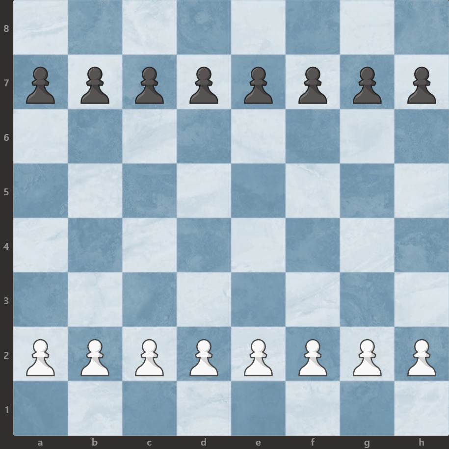 ustawienie pionków na szachownicy